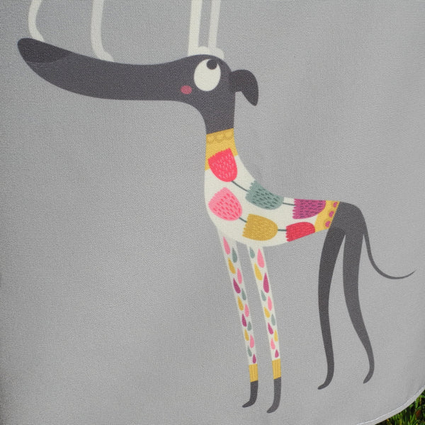 One of the dogs in the Graceful Greyhounds design on a Rollerdog apron