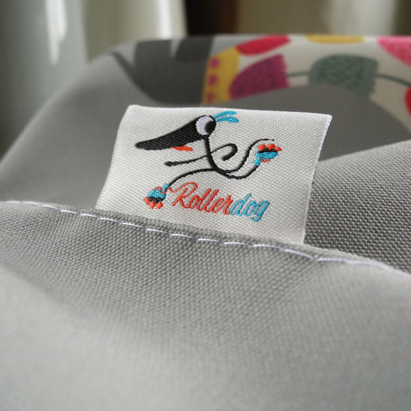 Graceful Greyhounds apron woven label