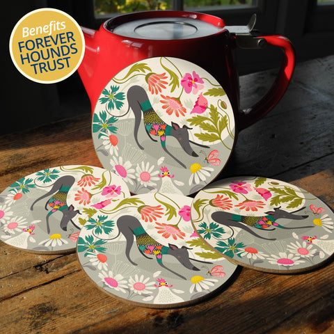 Greta greyhound coaster set by Rollerdog, with 10% of profits going to Forever Hounds Trust