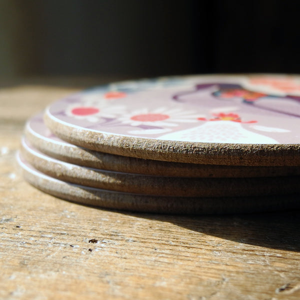 Stack of Greta greyhound coasters