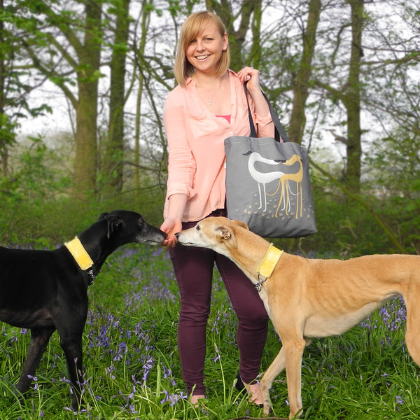Hounds of Love grey tote bag with greyhound models