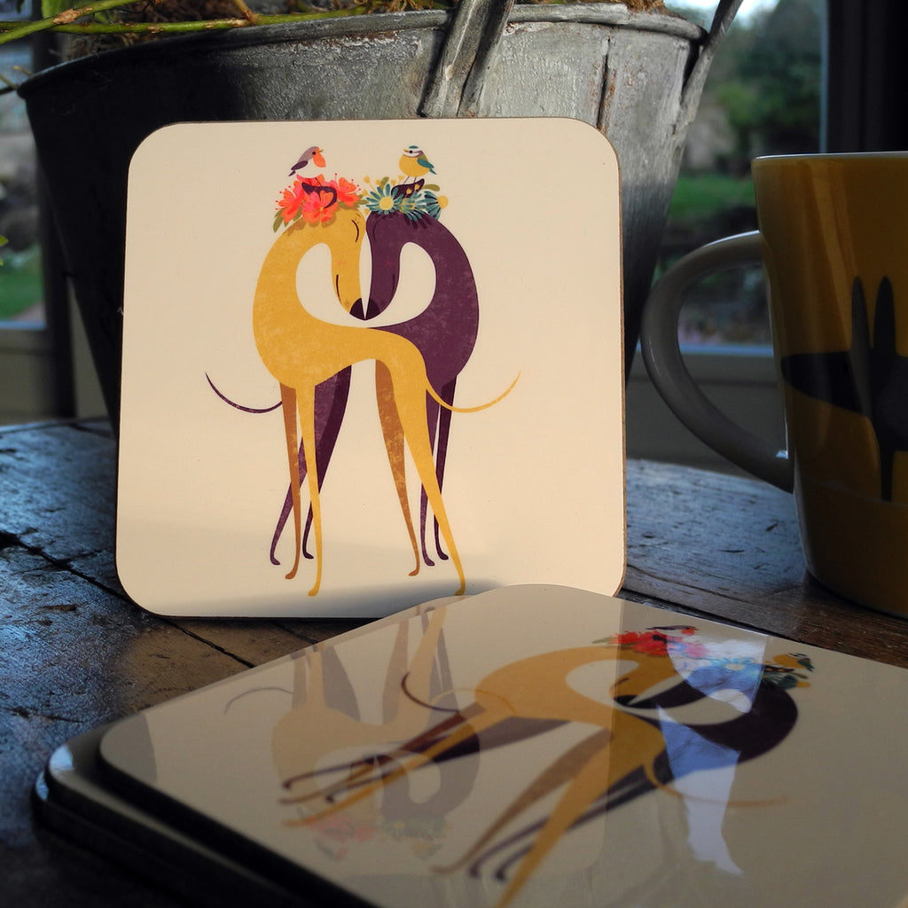 Hounds of Love coasters shown in situ on a table