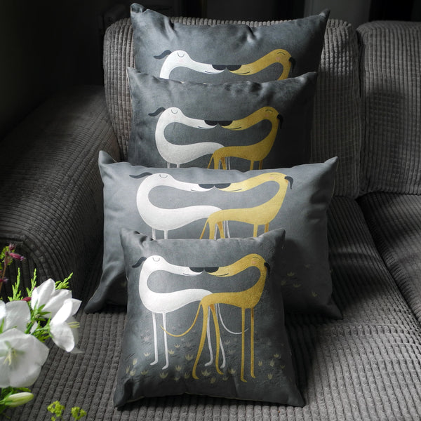 All four sizes of the Rollerdog Hounds of Love cushions