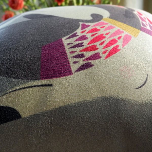 Close up view of the Mabel & Olive mini cushion
