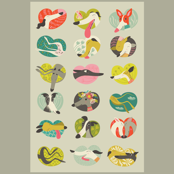 Noses & Poses tea towel design by Rollerdog