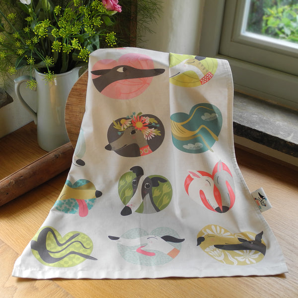 Noses & Poses tea towel by Rollerdog