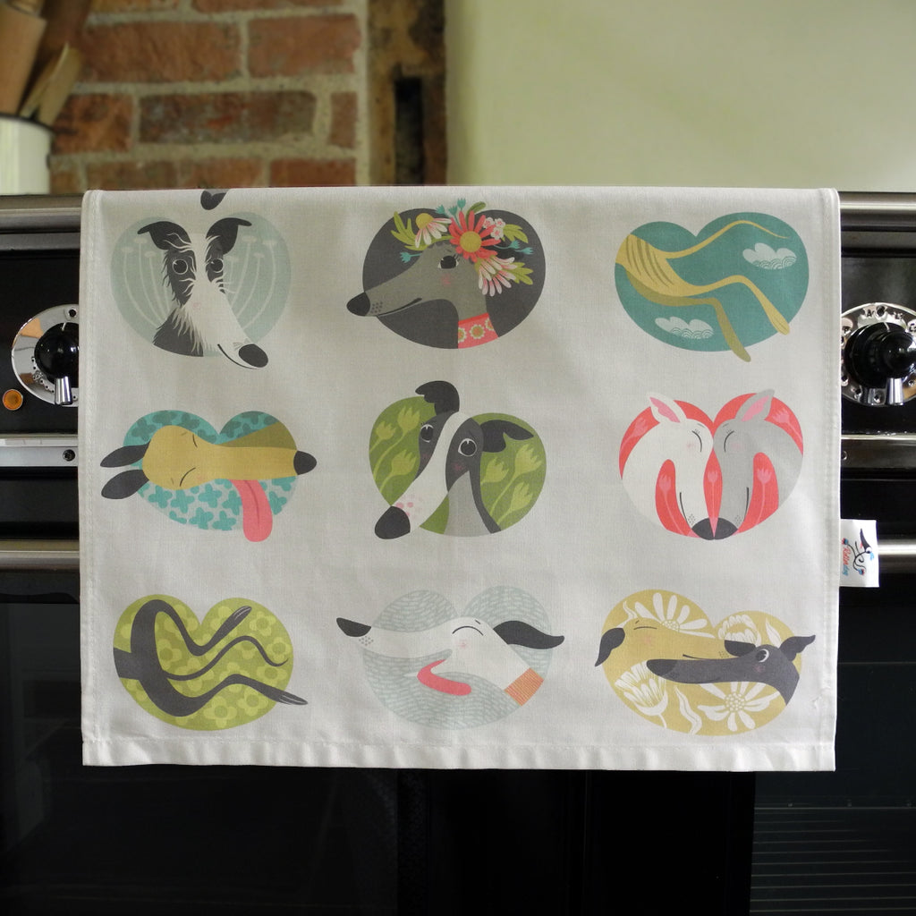 Noses & Poses tea towel in the kitchen