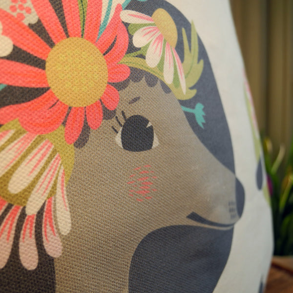 Close up view of a Noses & Poses tote bag, showing the cotton fabric