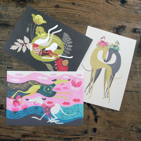 Set of 3 Rollerdog postcards