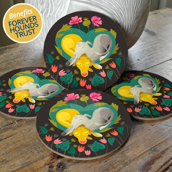 Pops & Bumble set of coasters, with 10% of profits going to Forever Hounds Trust