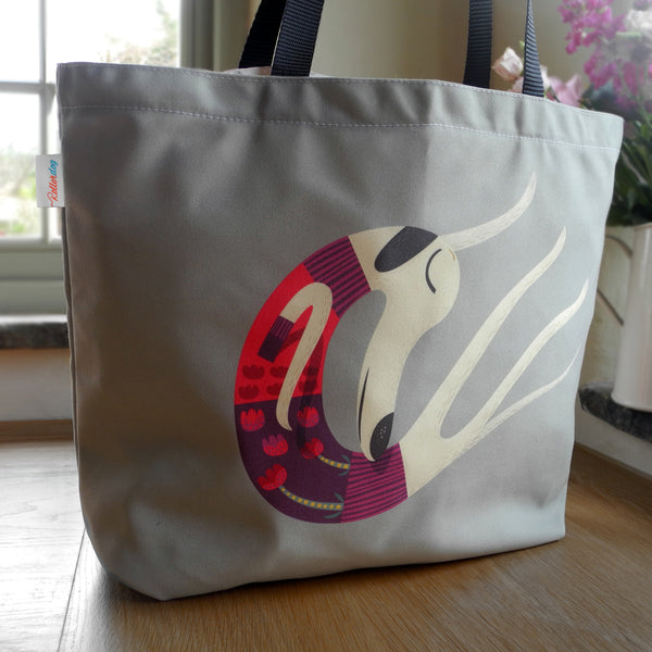 Back of the Rollerdog Sleepy Sighthounds tote bag
