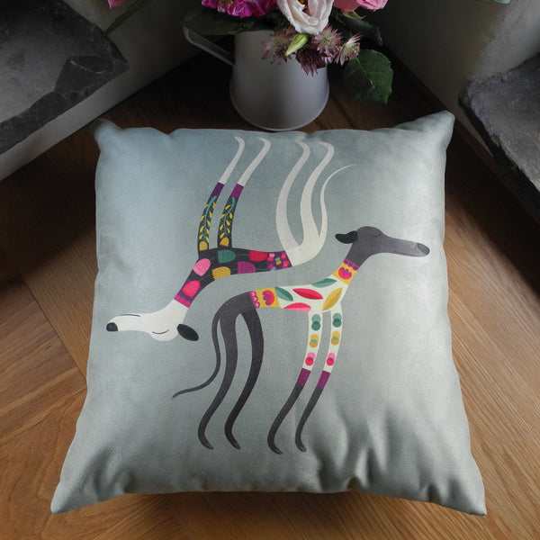 Front of the Sleepy Sighthounds cushion