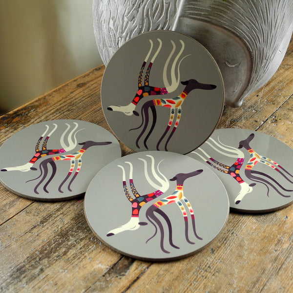 Set of 4 Sleepy Sighthounds coasters by Rollerdog