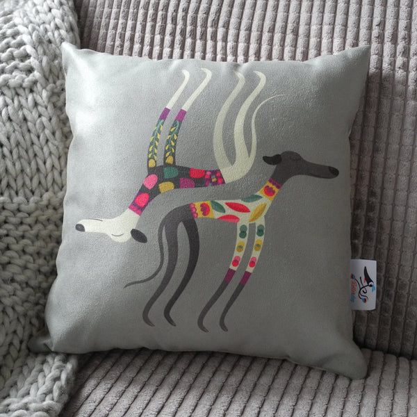 Front view of the Sleepy Sighthounds mini cushion