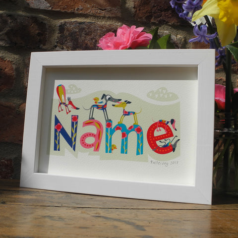 Wonderful Whippets personalised art print by Rollerdog