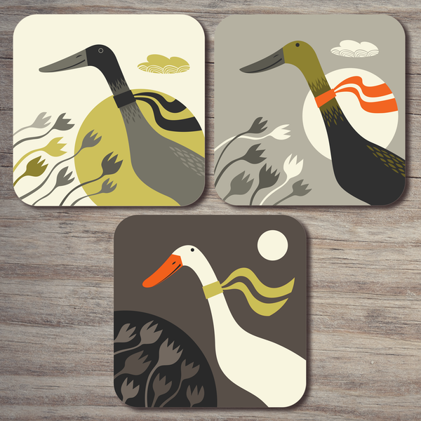 Three Ducks from Derbyshire coaster set, showing the three designs