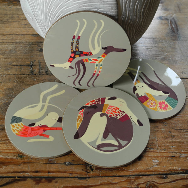 Greyhound and Whippet Coaster Set - All 4 Designs: Reduced