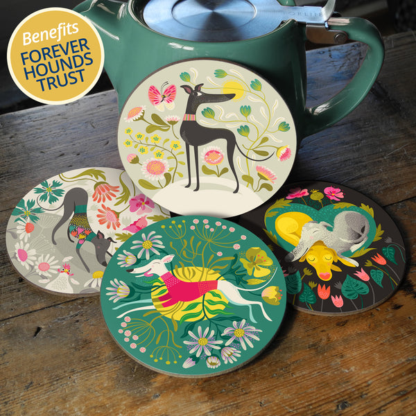 All four coaster designs, with 10% of profits going to Forever Hounds Trust