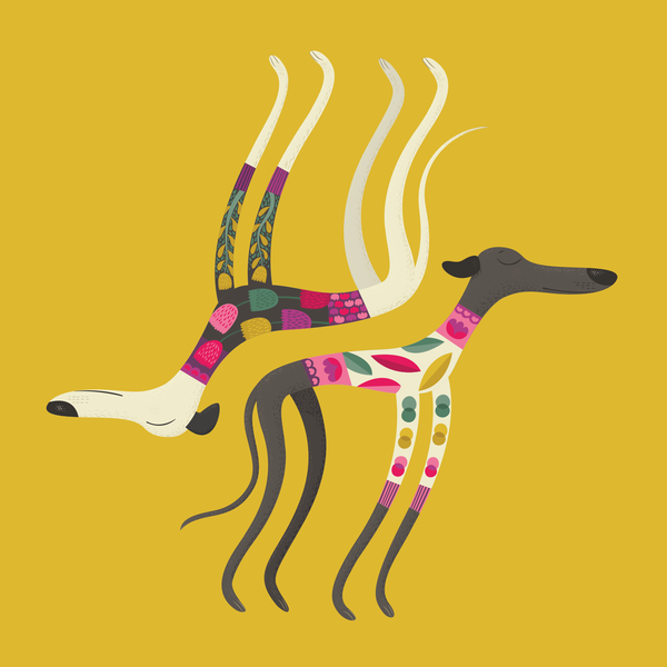 All-in-One Card & Gift: Sleepy Sighthounds