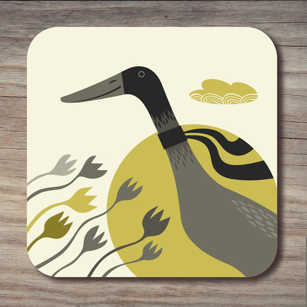 Grey Indian runner duck design on a Rollerdog coaster