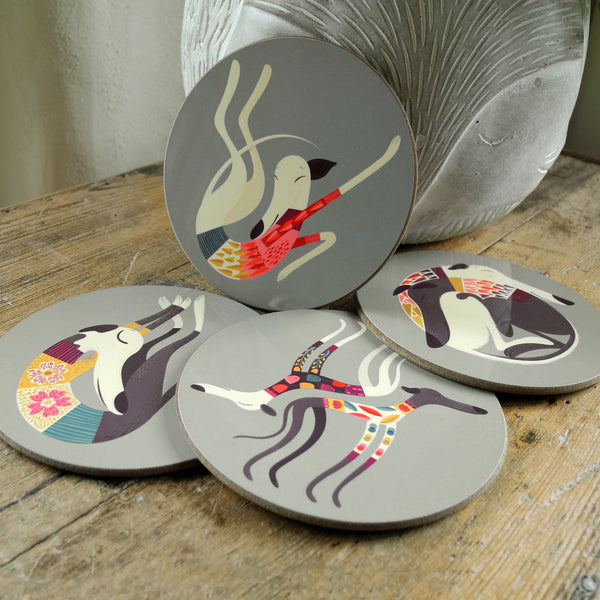 A set of Rollerdog Greyhounds & Whippets coasters