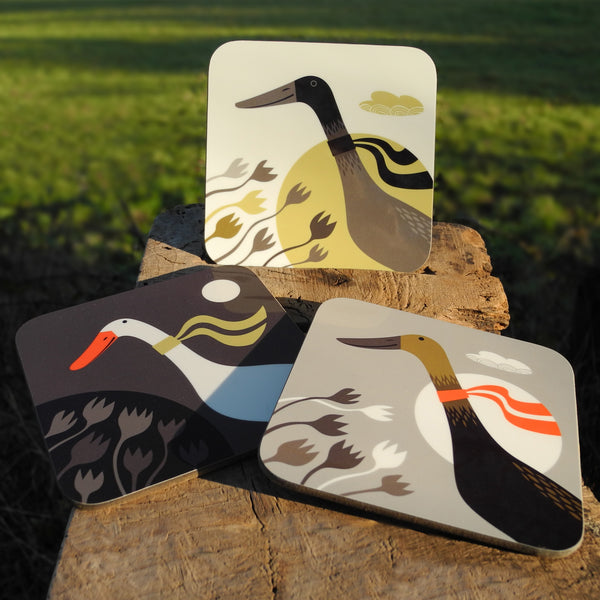 Three Ducks from Derbyshire coaster set, showing the three designs outside with a field in the background
