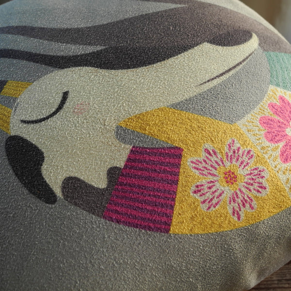 Close up view of Fred the Whippet mini cushion
