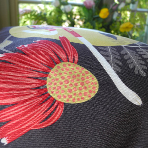 Close up of the Poppy the Greyhound tote bag