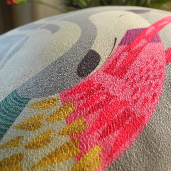Close up view of Poppy the Greyhound mini cushion