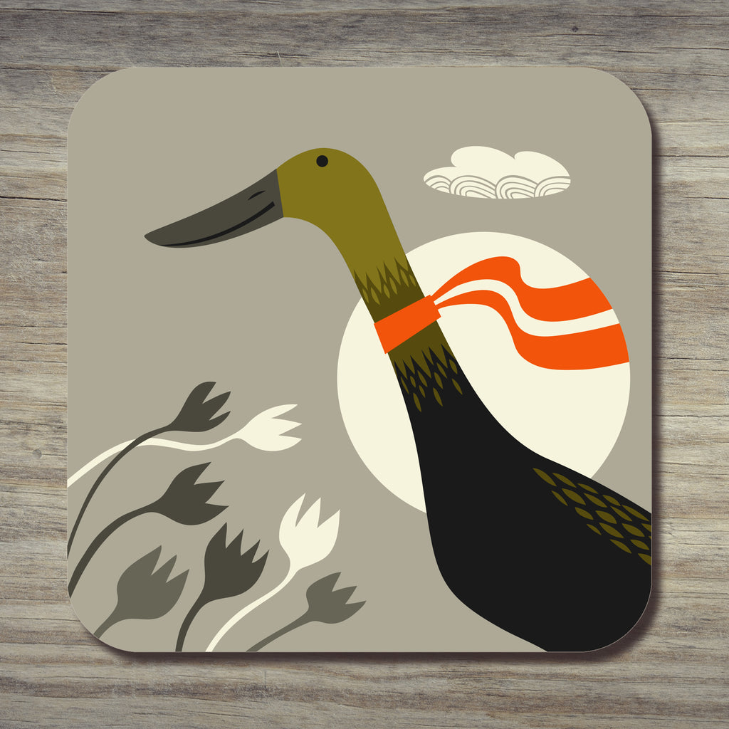 Black and green Indian runner duck design on a coaster by Rollerdog