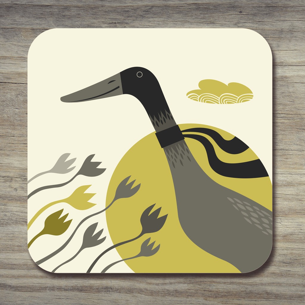 A Grey Indian runner Duck coaster by Rollerdog