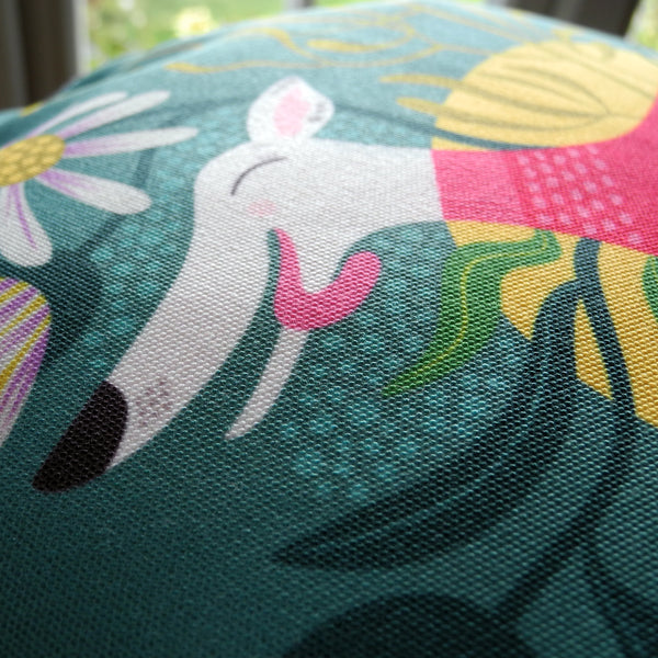 Close up view of the Snowy the Whippet tote bag
