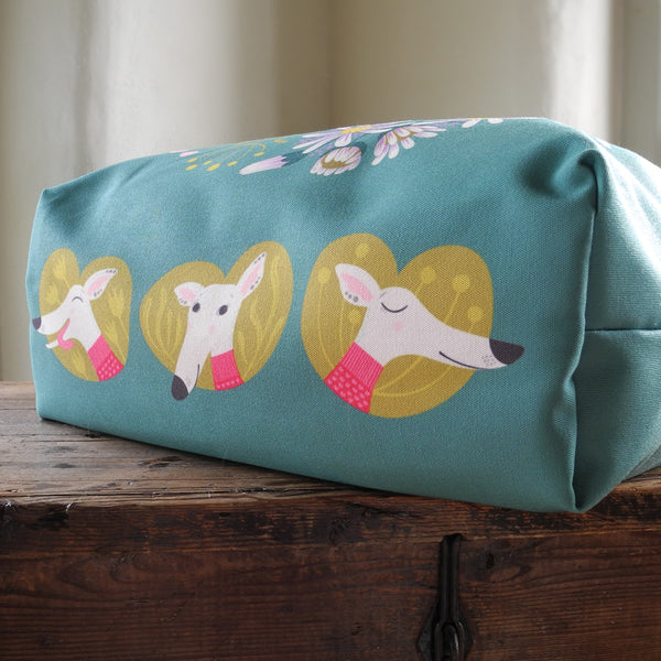 The base of the Snowy the Whippet tote bag