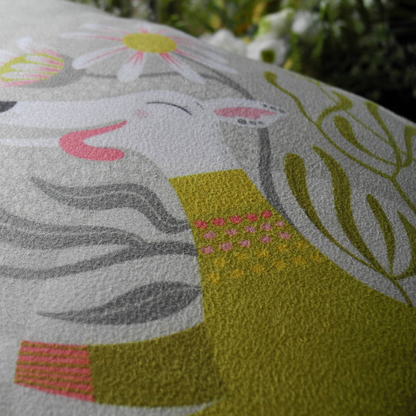 Close up of a Snowy the Whippet cushion by Rollerdog