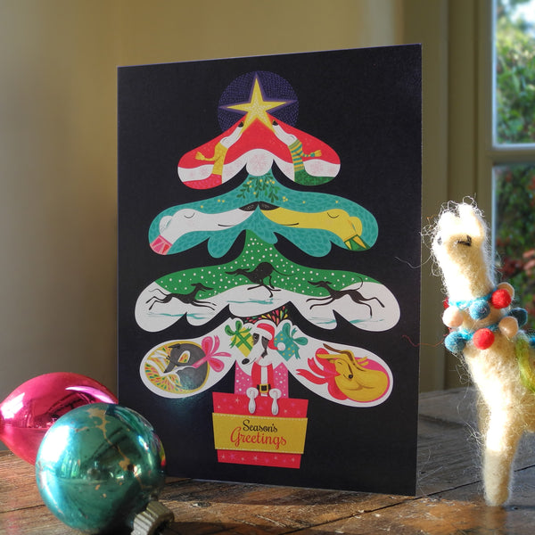 Woofmas Tree Christmas card by Rollerdog