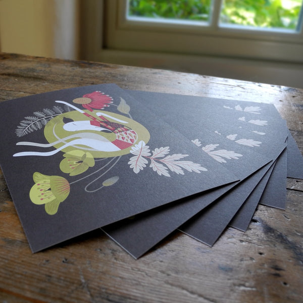 Set of 6 Poppy postcards by Rollerdog
