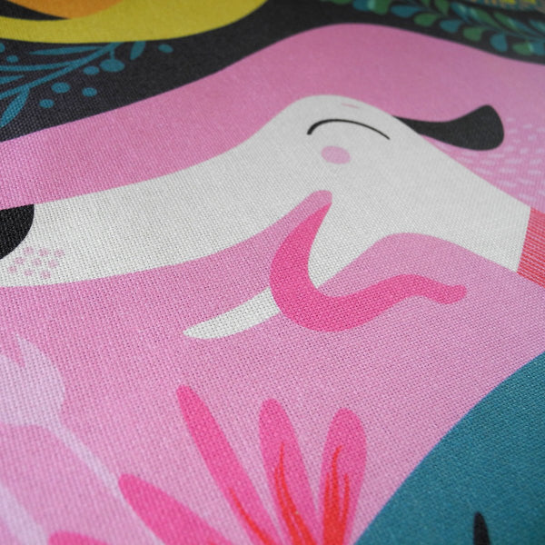 Close up view of a Rollerdog Zoomies tea towel