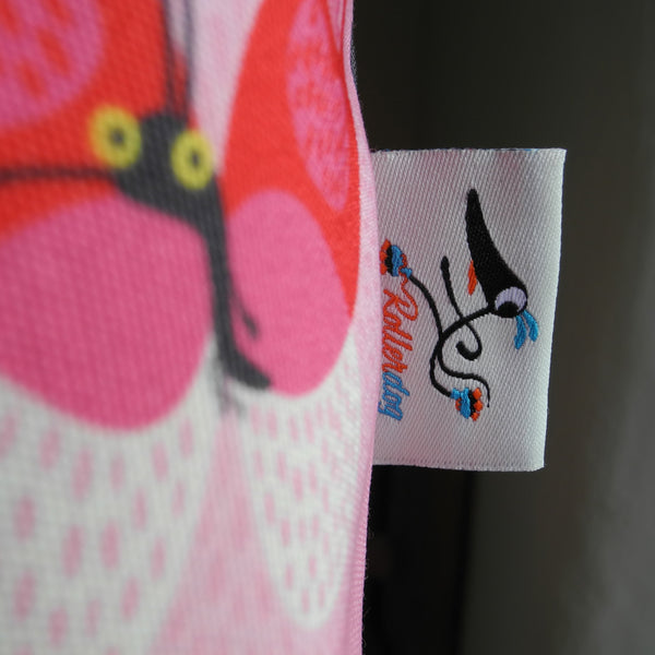 Close up of the Rollerdog tag on the Zoomies tote bag