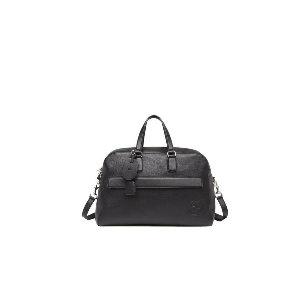 Gucci Men's Black Leather Duffle Travel Bag