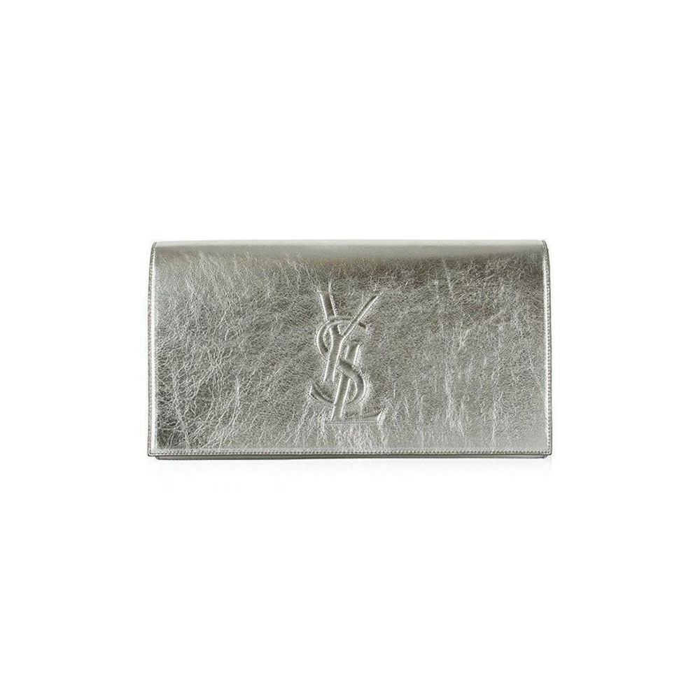 664b315a70b1 Saint Laurent Ysl Belle Du Jour Large Silver Metallic Clutch Bag ...