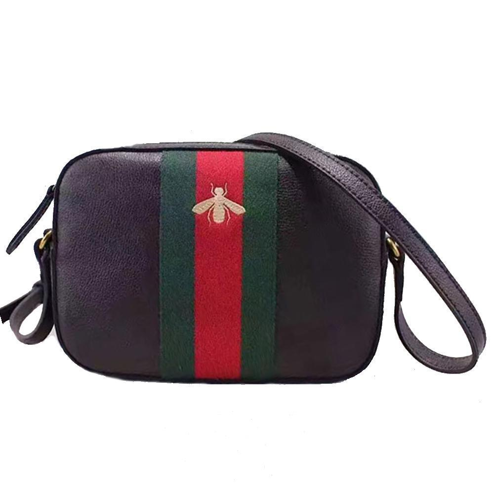 Gucci Bee Women\u0027s Brown Leather Red Green Web Crossbody Bag