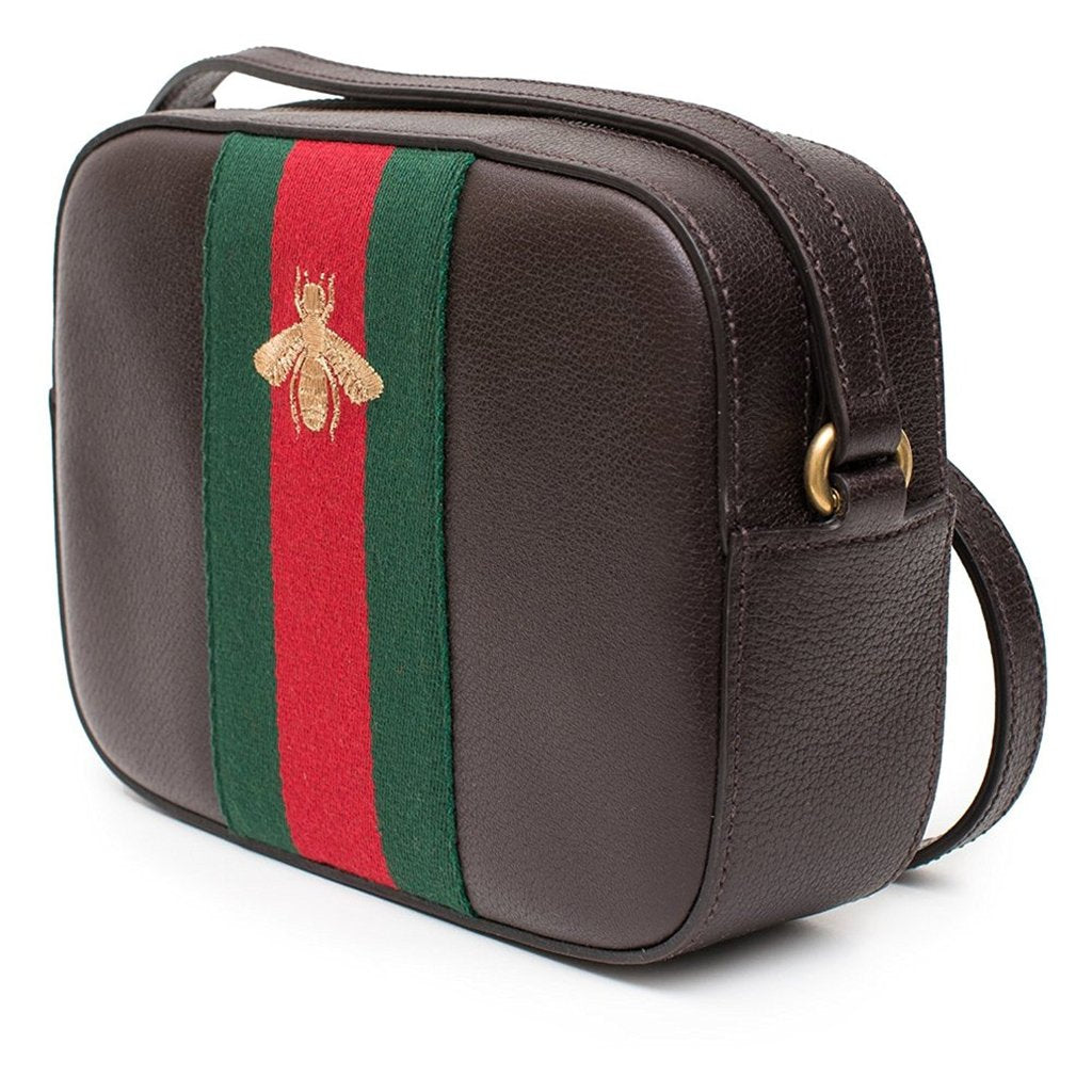 Gucci Bee Women's Brown Leather Red Green Web Crossbody Bag
