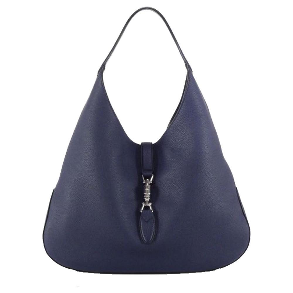 cad006b2863a7 Gucci Jackie Soft Leather Hobo Shoulder Bag Classic Blue – Christina J