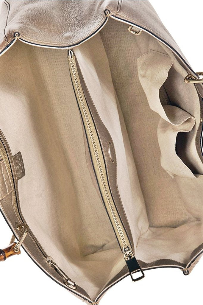 Gucci Bamboo Metallic Beige Leather Large Shopping Tote Bag