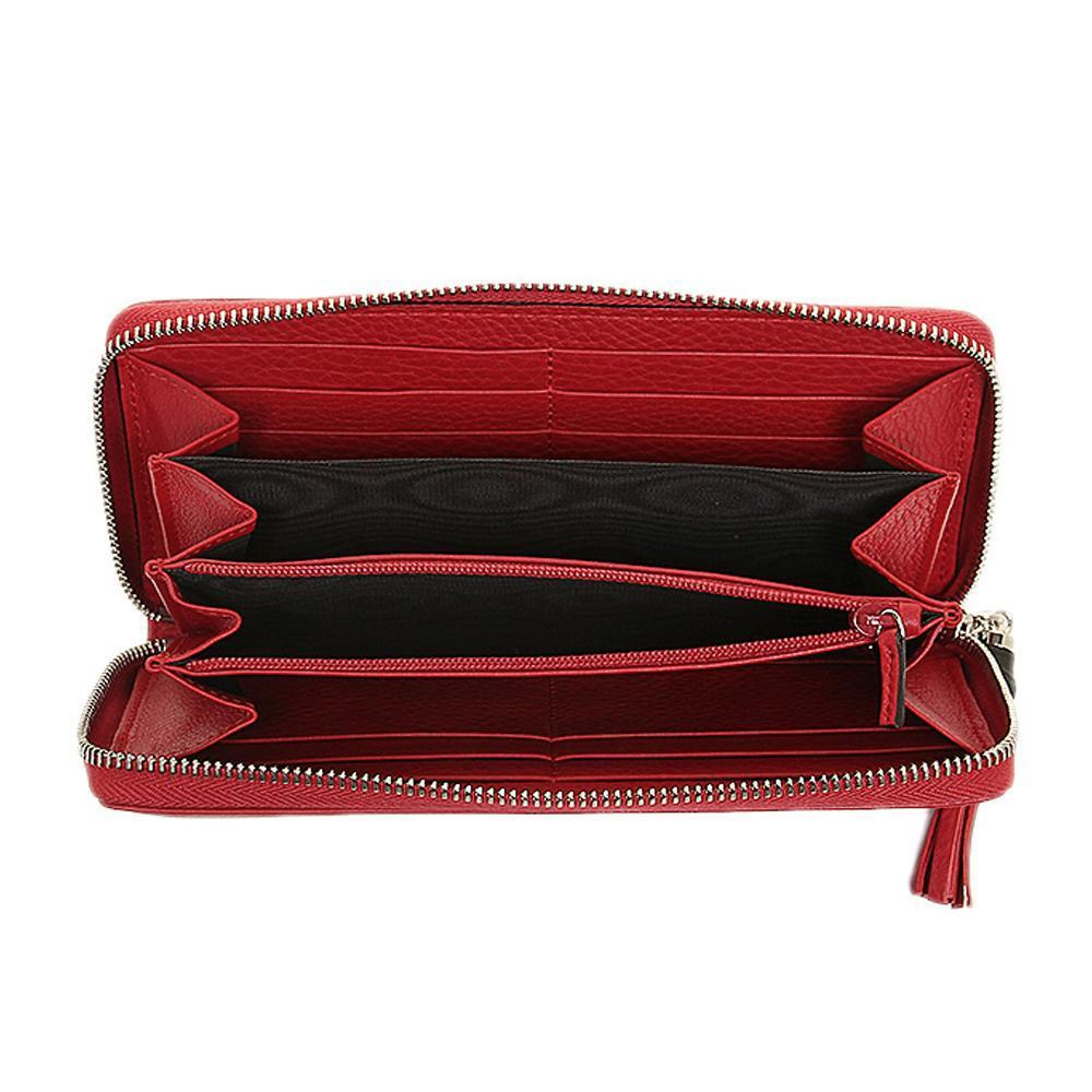 Gucci Women's Bamboo Tassel Leather Wallet - Red