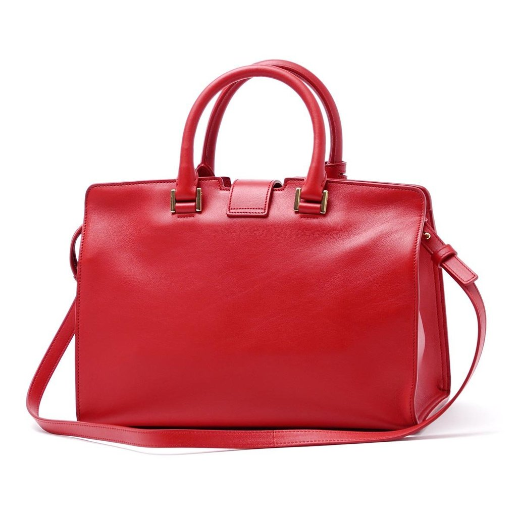 Saint Laurent Classic Small Cabas Y Top Handle Shoulder Bag in Red Leather