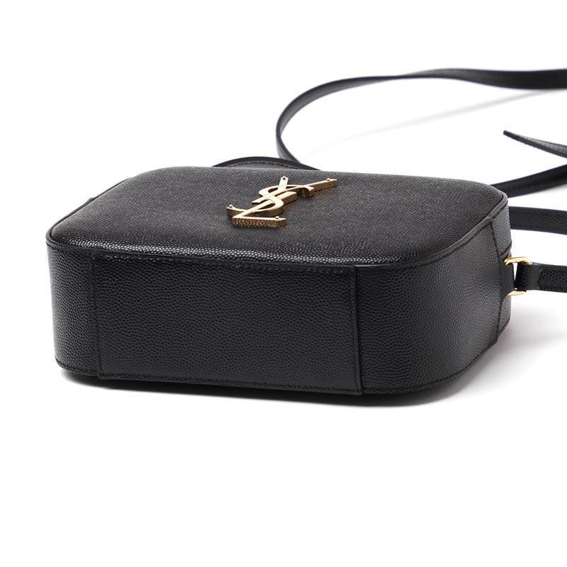 Saint Laurent Ysl Textured Leather Gold Ysl Monogram Camera Black Cross Body Bag
