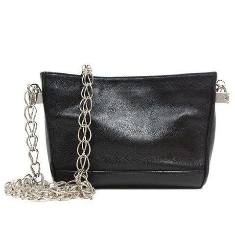 Saint Laurent Ysl Belle Du Jour Large Silver Metallic Clutch Bag
