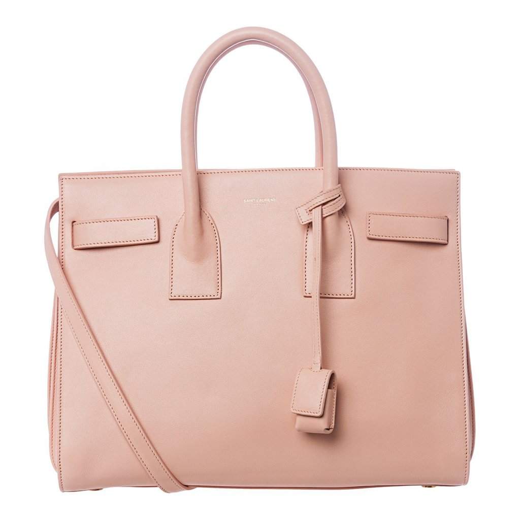 Saint Laurent Blush Pink Calf Leather Classic Small Sac De Jour Satchel Bag
