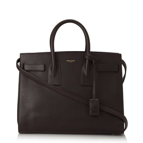 Gucci Cat Lock Leather Top Handle -  Brown Satchel